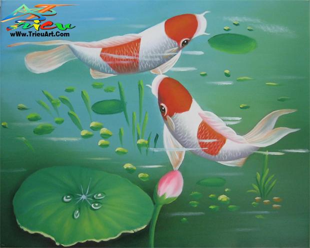 tranh sơn dầu giá rẻ - tranh cá chép