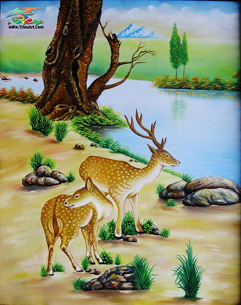 tranh sơn dầu giá rẻ - tranh hươu- nai