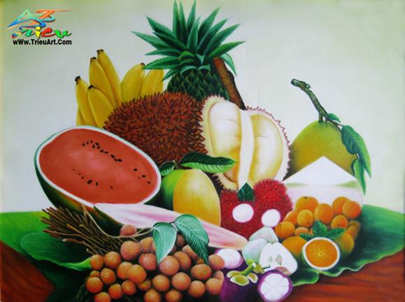 tranh sơn dầu giá rẻ - tĩnh vật trái cây
