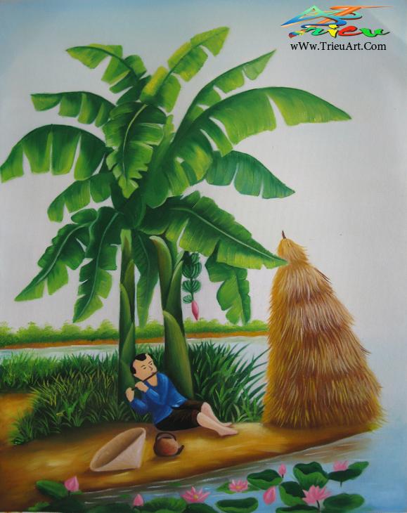tranh sơn dầu giá rẻ - tranh làng quê
