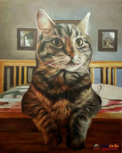 50 mẫu tranh sơn dầu thú cưng đẹp