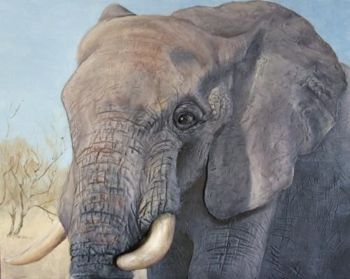 45 mẫu tranh sơn dầu vẽ voi