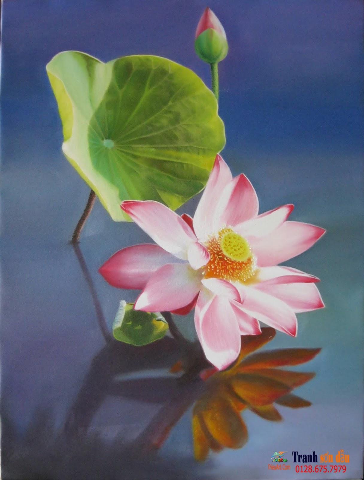 Tranh sơn dầu hoa sen, quà tặng, điểm nhấn cho không gian đẹp