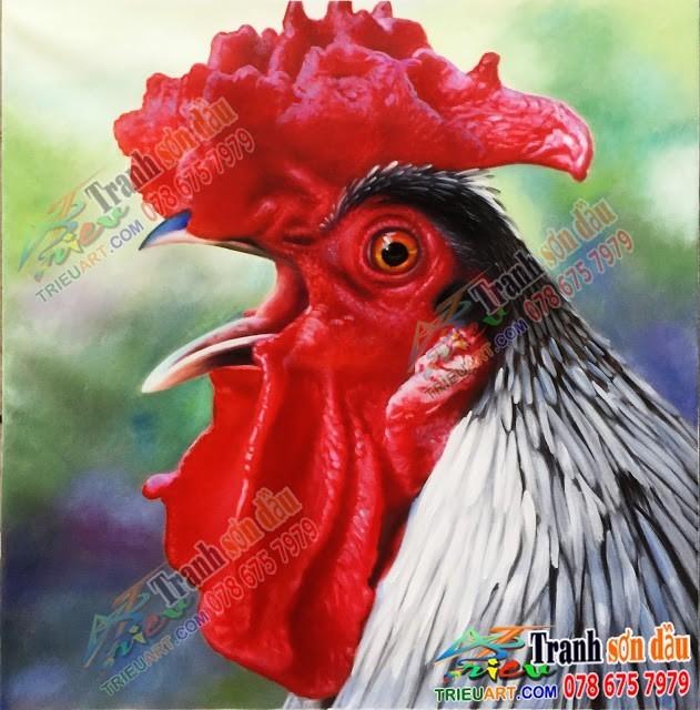 Tranh sơn dầu vẽ gà trống
