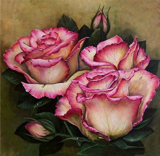 Vẽ hoa hồng, tranh sơn dầu nghệ thuật