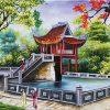 tranh sơn dầu chùa một cột