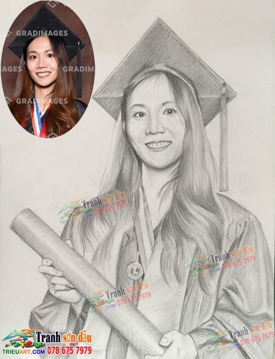 Vẽ chân dung tặng lễ tốt nghiệp