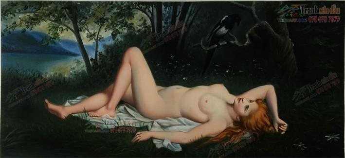 Thiếu nữ nude cổ điển vẽ theo yêu cầu
