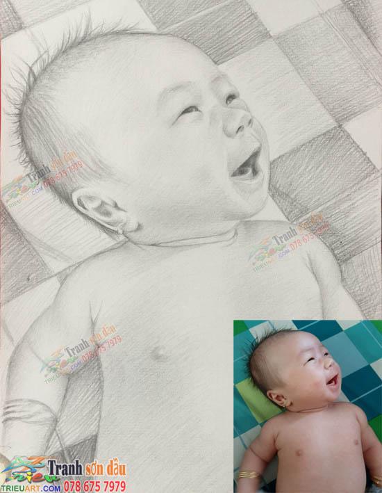 vẽ chân dung chì than tặng baby