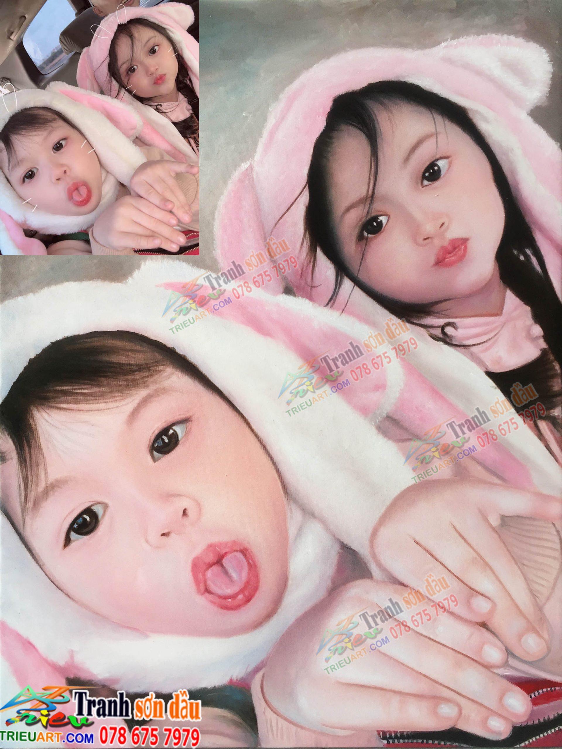 Vẽ chân dung sơn dầu tặng sinh nhật baby