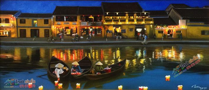 Phong cảnh sông nước Hội An, tranh vẽ sơn dầu trên vải