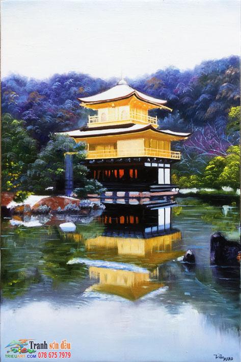 Phong cảnh Kyoto, tranh sơn dầu vẽ trên vải